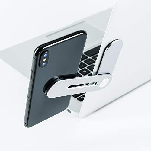 VARUTA - Soporte móvil para Ordenador, PC, comunicación móvil y Accesorios movil, Doble Pantalla, magnético, imán, aleación de Aluminio, Plateado.