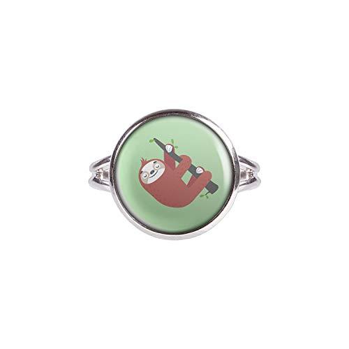 Mylery Ring mit Motiv Faultier Sloth AST Schläft Silber 14mm