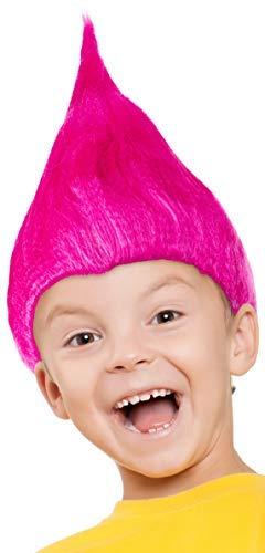 Balinco Troll Perücke für Kinder Mädchen & Jungen in pink, türkis und grün als Ergänzung für das Trolls Kostüm an Fasching und Karneval (Pink)