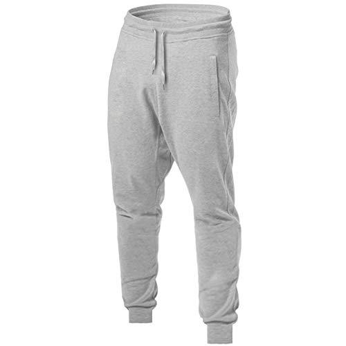 LeerKing Pantalones Deportivos para Hombre Jogger Pantalones de Chándal Ajustados Jogging con Cordón Cómodo, Gris M