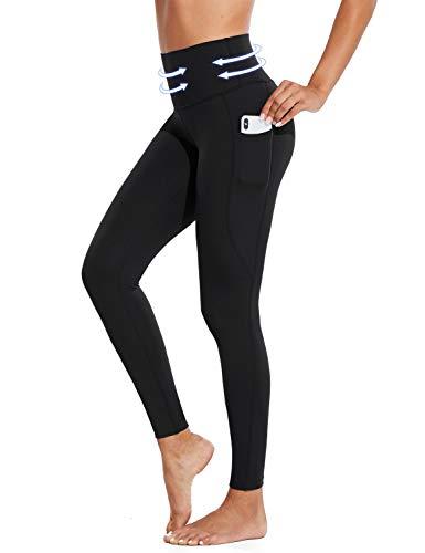 BALEAF Women's Tummy Control Shapewear Leggings High Waisted Compression Slimming Postpartum Yoga Pocketed Pants Black Size M