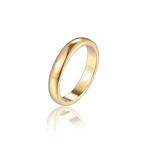 Anillo de acero inoxidable femenino superficie ligera oro rosa dedo índice 2.5M, 7, zinc,