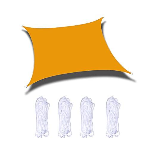 Vela De Sombra Solar Rectángulo, Toldo Vela De Sombra UV Prevención Permeable Transpirable, Velas De Sombra Para Jardín Patio Terraza Balcón Exteriores Pérgola Con Cuerda,Mango yellow,9.8'x19.6'