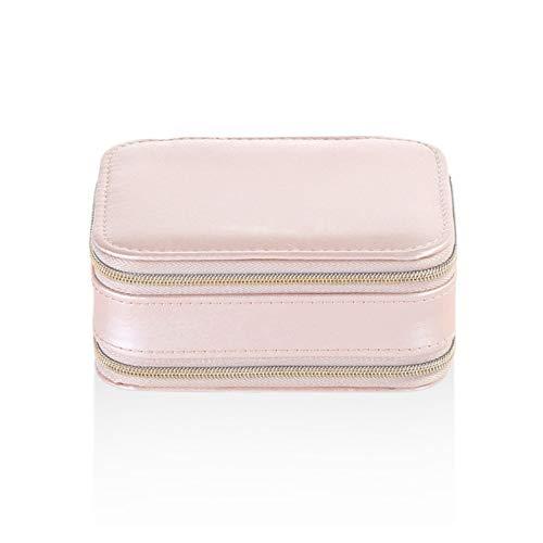 DAXINYANG Colorful Linght Caja de joyería portátil de Viaje Simple con Cremallera Stud Pendientes Joyería Caja de Almacenamiento PU Bolso de joyería Multifuncional (Color : Pink)