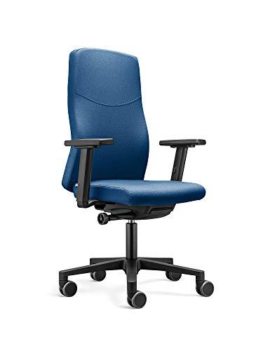 LÖFFLER Ergonomischer Bürostuhl / Drehstuhl BASIC mit verstellbarer Sitzhöhe, anpassbaren Armlehnen, Rückenlehne mit Gewichtsautomatik (Blau)