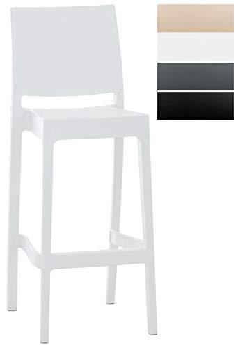Sgabello Bar Maya Impilabile In Polipropilene I Sgabello Outdoor Con Schienale I Sedia Sgabello Alta In Plastica Alt. 75 CM, Colore:bianco