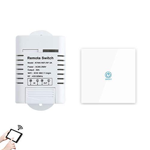 ILS - AC85-260V 30A 3000W High Power WiFi relaisschakelaar 433MHz receiver Smart Home Gadgets draadloze afstandsbediening schakelaar APP besturing werken met Alexa Google-startpagina + White HF-zender