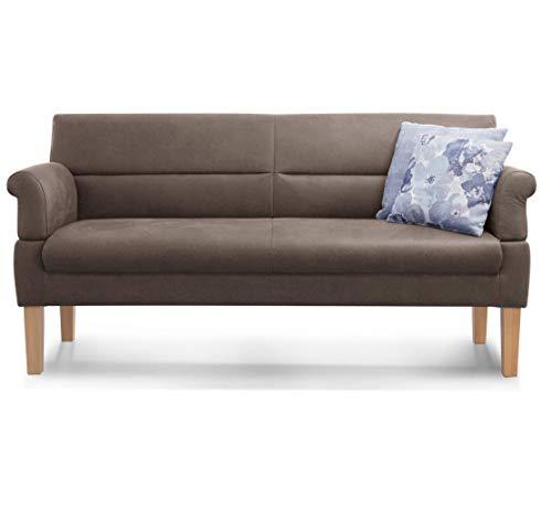Cavadore 3-Sitzer Sofa Kira mit Federkern / Sitzbank für Küche, Esszimmer / Inkl. Armteilfunktion / 189 x 94 x 81 / Kunstleder hellbraun