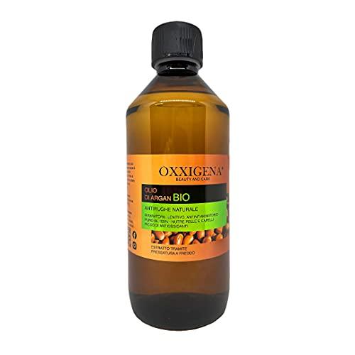 Oxxigena Olio di Argan del Marocco Biologico Puro al 100% - 500 ml - Pressato a Freddo - Idratante, Ideale per Viso, Capelli, Pelle, Barba e Cuticole - Vegano, senza OGM