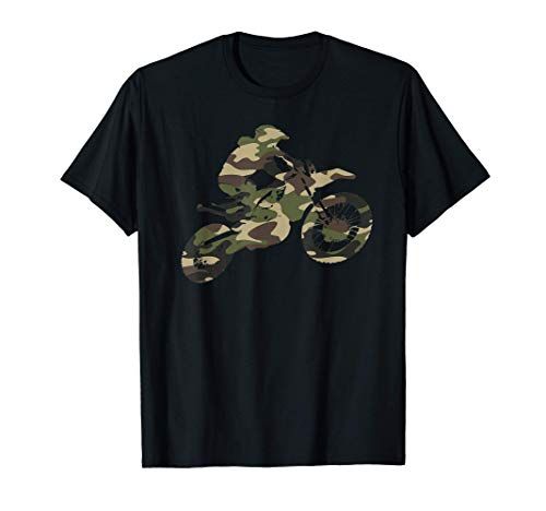 Motocross Dirt Bike Racing Shirt Camo Camouflage Tshirt Boys T-Shirt