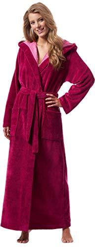 Morgenstern Bademantel Damen mit Kapuze in Fuchsia Pink extra lang leicht Frauen Gr L Hausmantel Frauenduschmantel Frauenbademantel hochwertig rosa