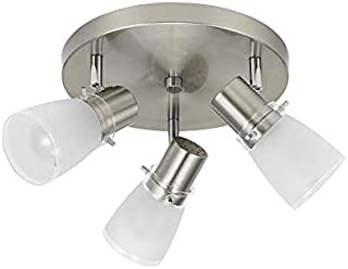 allen + roth allen + roth 3-Light 10-in Brushed Steel Dimmable Standard Flush Mount Fixed Track Light Kit