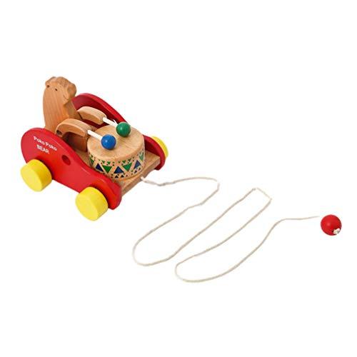 TOYANDONA Nachziehspielzeug Bär Spielzeug Ziehtier Nachziehtier Holz Push Pull Spielzeug Holzspielzeug zum Ziehen Lauflernhilfe für Baby Kinder Jungen Mädchen