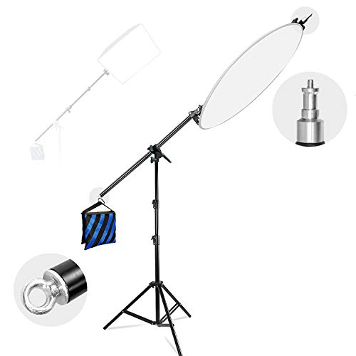 """LimoStudio Photo Studio 83"""" Tall Lighting Reflector Arm Stand Reflector Stand Holder Boom Arm,78"""" Light Stand, Sandbags Saddlebag, Adapter Clamp Connects Boom Arm to Stand, AGG812"""
