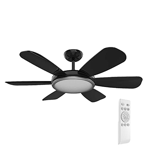 UNIVERSALBLUE | Ventilador de Techo con Luz LED Silencioso | Mando a Distancia | 6 Aspas | Diámetro 106 cm | Potencia 55 W | Temporizador | Motor DC | 6 Velocidades | Ventilador de Techo Negro