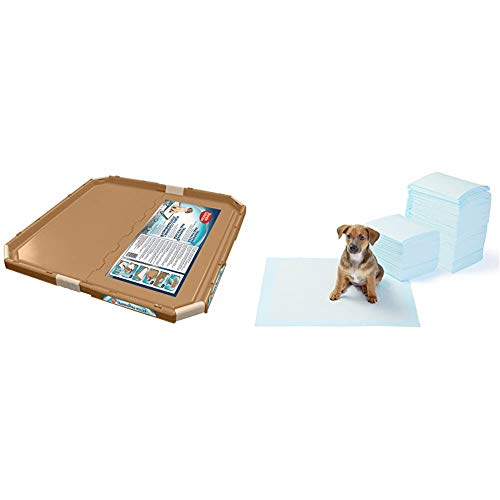 Simple Solution perro y soporte almohadilla del cachorro, almohadillas entrenamiento tamaño grande o regular + Amazon Basics - Toallitas de entrenamiento para mascotas (tamaño regular, 150 uni
