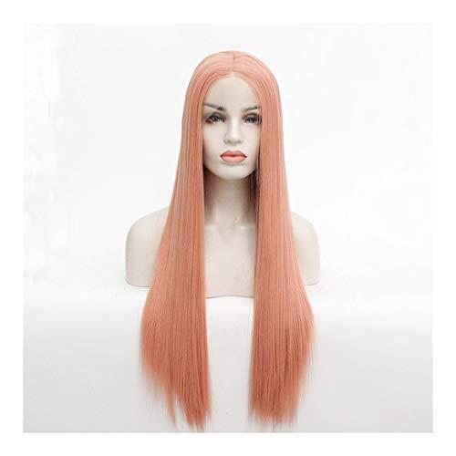LUZIWEN Perruque fumée rose dentelle perruque fil à haute température (Color : 14 inches)