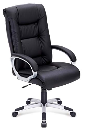 IntimaTe WM Heart Executive Leather Office Chair with High Back Large Seat, Ergonomic Adjustable Swivel Computer PU Desk Chair, Black