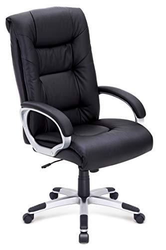 IntimaTe WM Heart High-Back Executive Leather Office Chair, Ergonomic Comfortable Adjustable Swivel Computer Desk Chair, Black, 130kg Capacity 82cm,Back