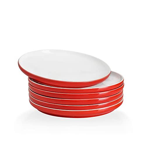 Kanwone Porcelain Dessert Salad Plates - 8 Inch - Set of 6, Red, Microwave and Dishwasher Safe Plates
