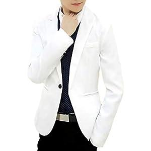 (ナガポ)NAGAPO メンズ カジュアル テーラード ジャケット スリム ビジネス 無地 長袖 ひとつ ボタン (XL, ホワイト)