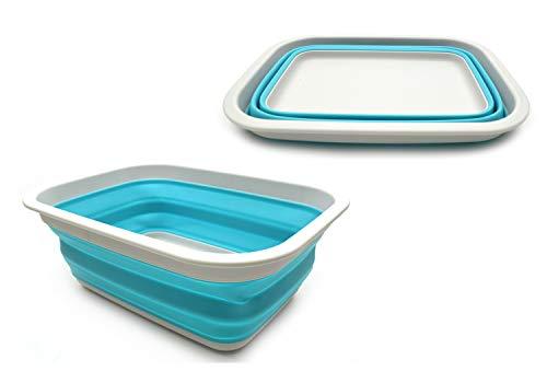SAMMART 9,2 l Faltbare Wanne – tragbarer Picknickkorb für den Außenbereich – Faltbare Einkaufstasche – platzsparender Aufbewahrungsbehälter (Grau/Hellblau)