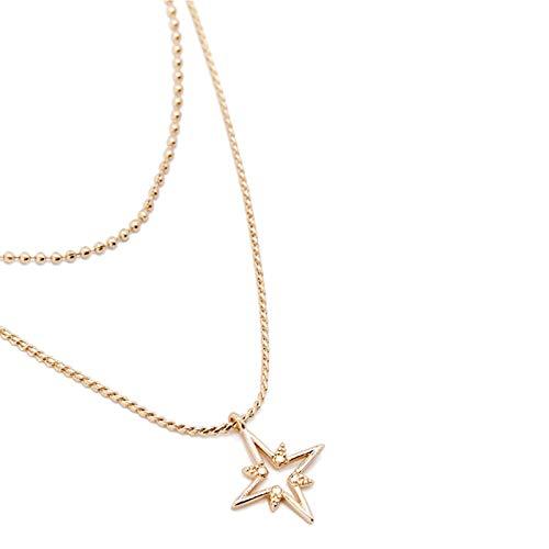 ANAZOZ Schmuck Damen Halskette Anhänger Vergoldet Stern Halsbänder Choker Halskette Mehrreihig Kette Silber Kette Anhänger