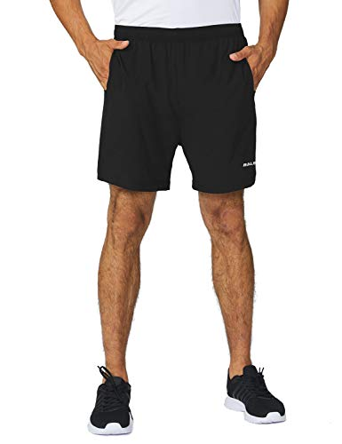 BALEAF Men's 5 Inches Running Athletic Shorts Zipper Pocket Black Size M