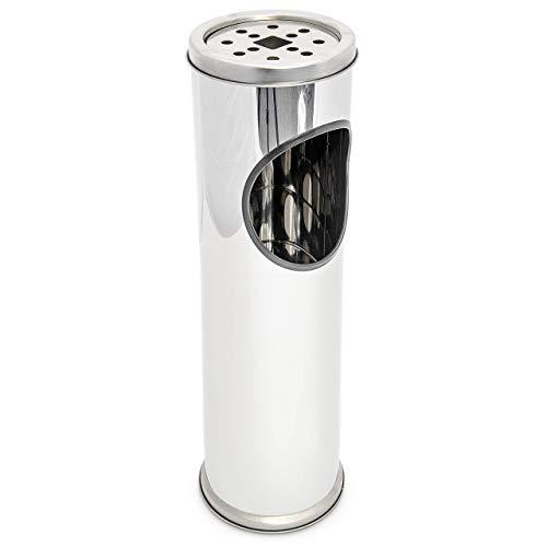 Relaxdays 10014093 Cendrier sur pied avec poubelle Inox 52,5cm Ø 13, 5 cm amovible entrée bureau, gris argenté, 52,5 x 14 x 14 cm