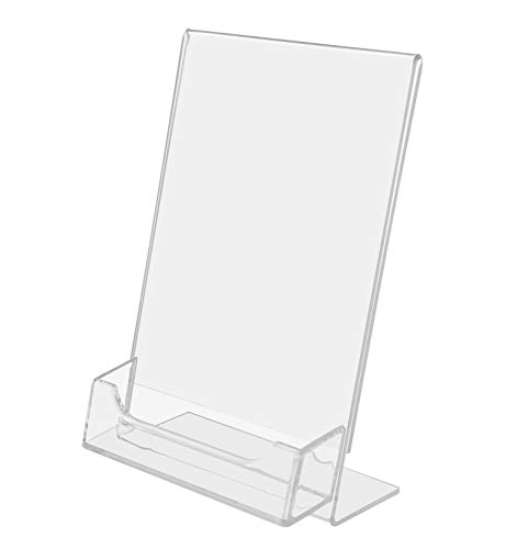 """Marketing Holders 4""""w x 6""""h Lucite Clear Acrylic Slanted Sign Holder with Business Card / Gift Card Hold"""