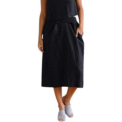 YueLove Damen Midiröcke LäSsig Einfarbig Elastische Taille Streetwear Lose Röcke mit Taschen Festliche Vielseitige Faltenrock