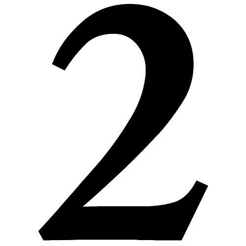 Zahlen-Aufkleber Nr. 2 in schwarz I Höhe 10 cm I selbstklebende Haus-Nummer, Ziffer zum Aufkleben für Außen, Briefkasten, Tür I wetterfest I kfz_471_2