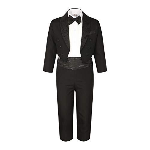 GSCH 5pcs Niños bebés Caballero boda Trajes Chaqueta + Pantalon + Camisas + Pajarita Ajustable + Pretina (12 mes-4 años) (12mes, Negro)