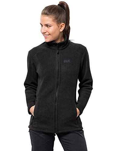 Jack Wolfskin Damen Midnight Moon Women Klassisch Robust Systemreißverschluss Outdoor Fleecejacke, schwarz, XXL