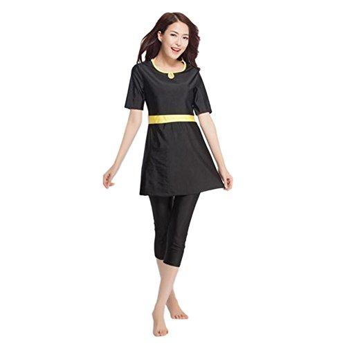 Meijunter Muslim Frauen 2-Stück Bescheiden Burkini Badeanzug Beachwear islamisch Araber Middle East Malaysia Kurzarm Mädchen Sommer Bademode Bathing Suit (Farbe:Schwarz,Größe:M)