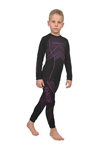 Norde THERMOTECH Kids Sport Termoattivo Traspirante Intimo Funzionale (Camicia + Pantaloni) Set (Nero/Rosa, 146/152)