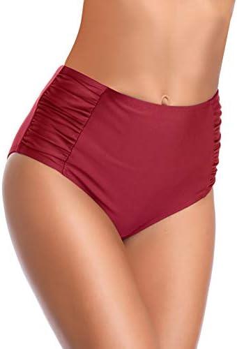 SHEKINI Women s Retro High Waisted Bikini Bottom Ruched Side Swim Short Tankinis Wine Red Small product image