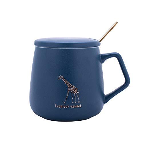 WLLL Cappuccino Kopjes, set van 2 Gorgeous Grote Steengoed Specialty Coffee mokken met Mocha Espresso Cappuccino Designs - 400ml (Color : Blue, Size : 9.5cm*7.7cm)