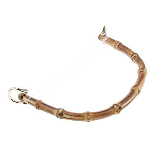 F Fityle DIY Echte Bambus Holz Taschengriffe Taschengriff mit Metall Schnalle für Geldbörse, Handtaschen Taschenherstellung - Gold