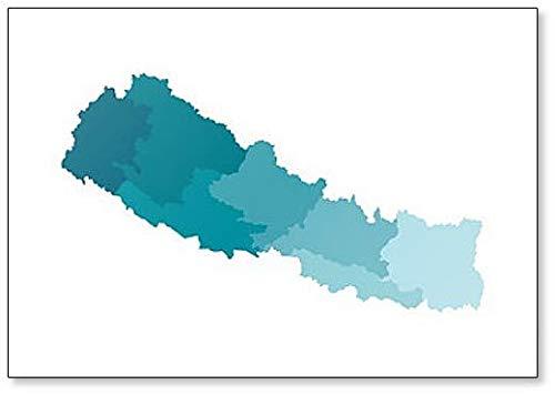 Illustratie van vereenvoudigde administratieve kaart van Nepal koelkastmagneet