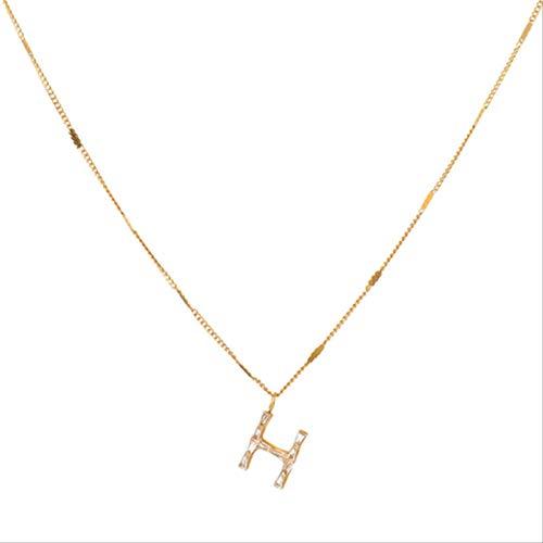 Varitystore Galvanoplastia versión coreana de simple H letra colgante collar femenino Ins viento frío clavícula cadena collar