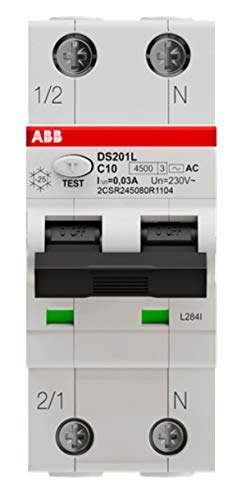 ABB DS201 LH Interruttore Differenziale Magnetotermico 4,5KA 1P+N 30ma 2 moduli classe AC (DS201LHC6AC30 16A (EX DS91LC16AC30))