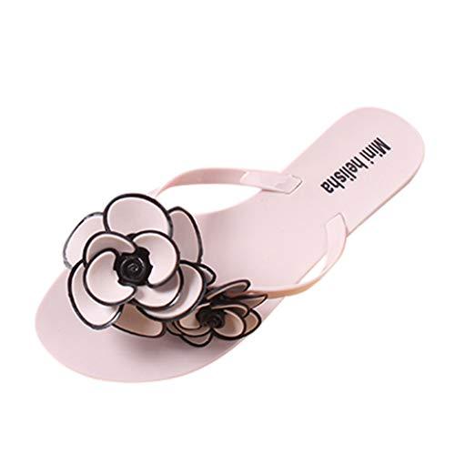 AIni Sandalia Mujeres Plataforma Chanclas de SeñOra de Verano Zapatillas de Flores Boho Sandalias de Punta Abierta Zapatos Planos de CóModo Zapatillas Antideslizantes Zapatos de Playa Negro 36