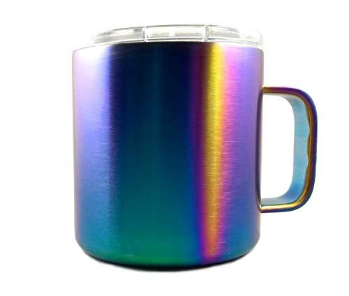 Taza de café de viaje de acero inoxidable iridiscente, inastillable, colorida, aislante, incluye tapa