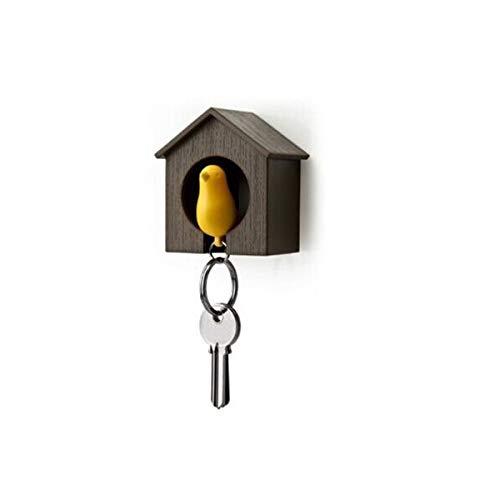VOSAREA Vogelhaus Schlüsselanhänger Schlüsselhalter Ring Vogel Pfeife Liebespaar Schlüsselring (Braunes Haus mit gelbem Vogel)