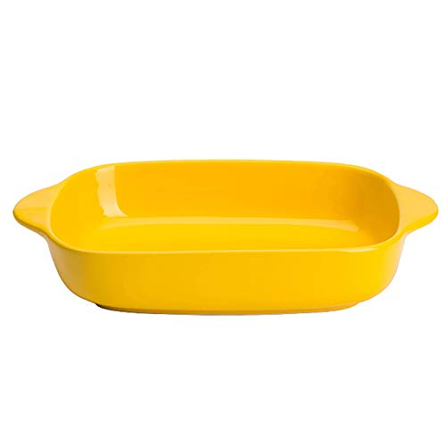 MDZF SWEET HOME Ceramic Glaze Baking Dish for Oven Individual Roasting Lasagna Pan Small Casserole Bakeware with Handle, Yellow