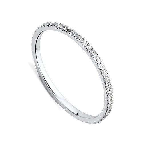 Orovi Damen-Ring Memoire HochzeitsringWeißgold 9 Karat (375) Brillianten 0.27 carat Verlobungsring Diamantring