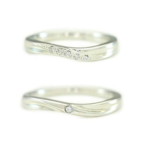 [ココカル]cococaru シルバー ペアリング 2本セット 結婚指輪 マリッジリング ダイヤモンド 日本製(レディースサイズ15号 メンズサイズ20号)