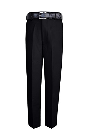 S.H. Churchill & Co. Boy's Comfort Waist Dress Pants and Belt - Black, 14