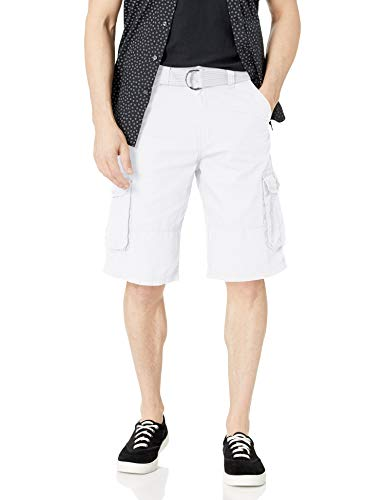Southpole Men's All-Season Belted Ripstop Basic Cargo Short-Reg and Big & Tall Sizes, White/New, 38